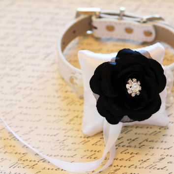 Black and White Ring Pillow attach to the High quality Dog Leather Collar, Wedding Dog Accessory, Ring Pillow bearers