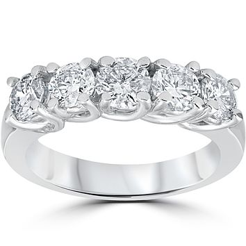 14K White Gold Ethically Mined Diamond Five Stone Eternal Anniversary Band