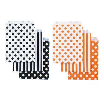 48 Black Orange Polka Dot Stripes 5x7 Treat Bags Goody Bags Halloween Party Decor