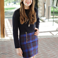 Louisa Double Zip Plaid Skirt : Royal/Wine