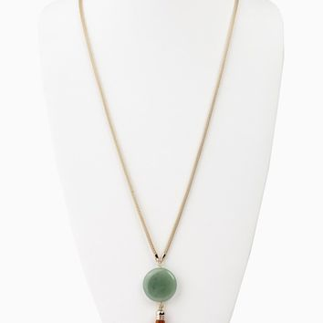 Jade Round Stone Tassel Long Necklace