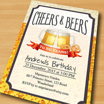 Cheers & Beers Birthday Invitation Beer birthday modern design for man any age 30th 40th 50th 60th 70 gathering invitation - card 361