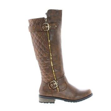 Mango21 Brown Pu By Forever, Knee High Quilted Buckle Riding Moto Boots
