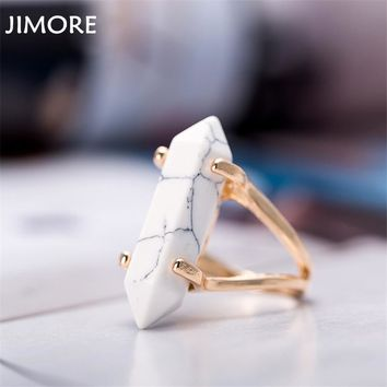 [JIMORE] Marble Jewelry Rings 2017 New Hexagonal Column Stone Finger Rings for Women Anillos Mujer Party Tail Ring Vintage Bague