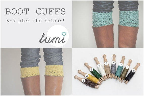 Crochet Boot Cuffs you pick the colour by LumiStyle on Etsy