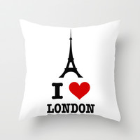 I Love London Throw Pillow by LookHUMAN