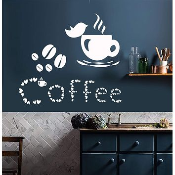 Vinyl Wall Decal Coffee Cup Lover Bird House Beans Stickers Unique Gift (831ig)