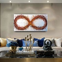 """Abstract Painting 48"""" Infinity Symbol Original Wall Art Modern Oil Painting Multicolor Large Modern Art on Canvas- Nandita Albright"""