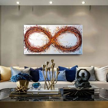 "Abstract Painting 48"" Infinity Symbol Original Wall Art Modern Oil Painting Multicolor Large Modern Art on Canvas- Nandita Albright"