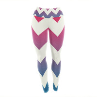 "Catherine McDonald ""Fade to Blue"" Chevron Yoga Leggings"