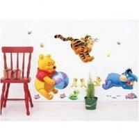 Winnie the Pooh Playing Ball Removable Vinyl Mural Art Wall Sticker Decal:Amazon:Home & Kitchen