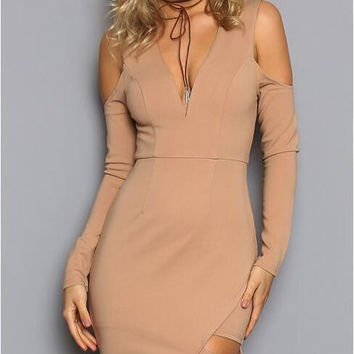 Strapless Shoulder Pencil Cut Dress