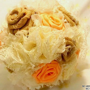 Handmade Shabby Chic  Fabric Burlap Lace Touch of Coral Wedding Bouquet