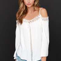 Into the Woodstock Ivory Lace Off-the-Shoulder Top