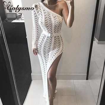 Colysmo Summer Dress 2018 Long Dress Women One Shoulder Maxi Dress Sexy Hollow Out High Split Club Party Dresses Sweater Vestido