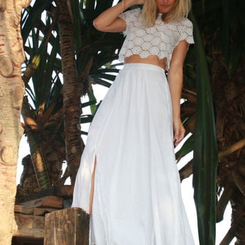 White Maxi Split Skirt - High Side Splits with Side Lace Panel, Long Skirt, Vintage Maxi Skirt, White Rayon Voile