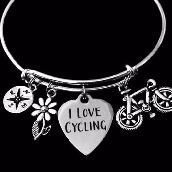 I Love Cycling Jewelry Bicycle Compass Daisy Silver Expandable Charm Bracelet Adjustable Wire Bangle One Size Fits All Gift