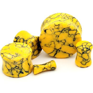 "Yellow Howlite Stone Plugs - 1"" - 25mm - Sold As a Pair"