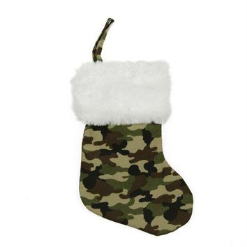 MDIGMS9 8' Army Camouflage Mini Christmas Stocking with White Faux Fur Cuff