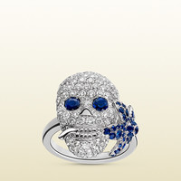 Gucci - Gucci Flora ring in white gold, diamonds and sapphires 389105I19T09086