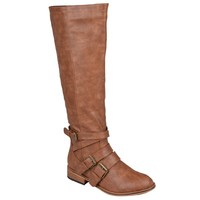Brinley Co. Womens Buckle-Strap Knee-High Riding Boots