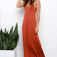 Sunset the Pace Rust Orange Maxi Dress
