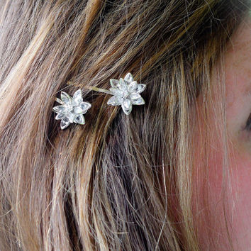 Crystal Rhinestone Flower Bobby Pins - Crystal Flower Wedding Accessories - Crystal Hair Flowers