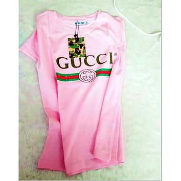"""Gucci""Hot letters print T-shirt top Pink"