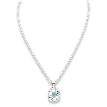 925 Sterling Silver Necklace with Ocean Blue Stone