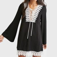 2016 New Fashion Women Clothing Vestidos Plus Size Tie Up Lace Patchwork Flare Sleeve Chiffon Casual Shift Black Dress Q708