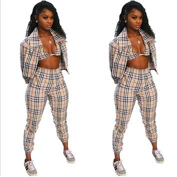 Burberry New fashion plaid top and coat and pants leisure three piece suit women