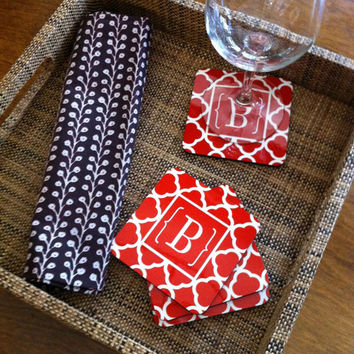 Set of 4 personalized monogram coasters with cork back