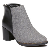 Gray Suede Panel Ankle Boots With Chunky Heel