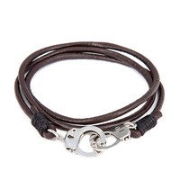 New Hot 64 CM Bracelets Men Brown Handcuffs Wristband Bangles Jewelry Leather Bracelet Handmade Charm Hippie Pulseiras Bijoux