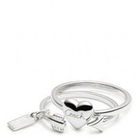 Coach :: Sterling Heart And Arrow Ring Set