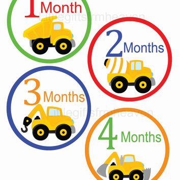 SALE Construction Monthly Stickers- construction baby, construction monthly, month shirt stickers, baby boy stickers, month to month