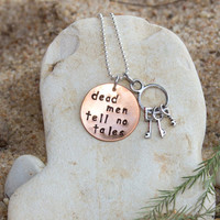 Disney - Hand Stamped - Necklace - Pirates - Dead Men Tell no Tales - keys