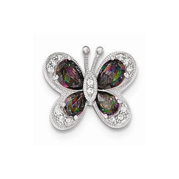 Sterling Silver Polished Dark Mystic Cz Butterfly Pendant