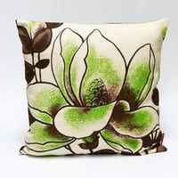 Green floral vintage fabric throw pillow  40x40 - 16x16 - retro decorative cushion cover -