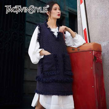 TWOTWINSTYLE Knitted Tassel Long Waistcoat Women Autumn Winter Big Pockets Sleeveless Vest V Neck Female Loose Casual Clothing