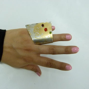 big aluminum ring with bright tiny glass accent beads, gold accent shade , statement rings , statement