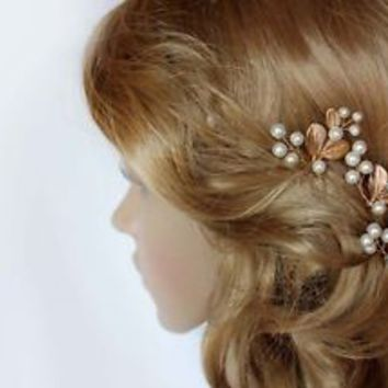 Bridal Gold Olive Leaves Pearls Branch Hair Vine Comb Pin Headpiece Wedding