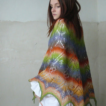 Wrap shawl, Hand knitted lace shawl, Boho poncho, Eco wool shawl, Colorful wrap, Lace mantilla, Orange green cape, Stole, Gift for women