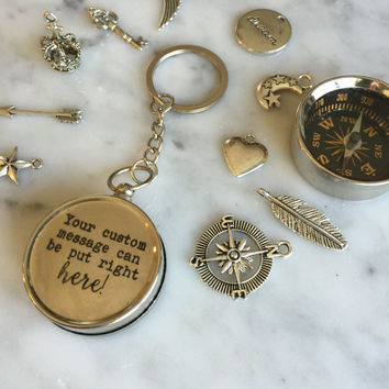 Customized Compass, Custom Compass, Personalized Compass, Customized Keychain, Working Compass, Gift for Him, Gift Under 30, Boyfriend Gift
