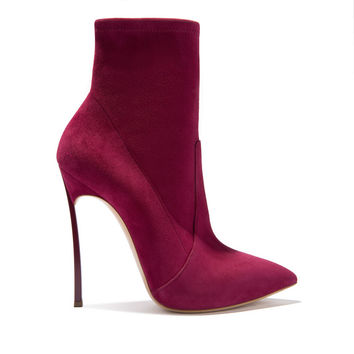 Women's Ankle Boots Blade in Suede Red Berry | Casadei