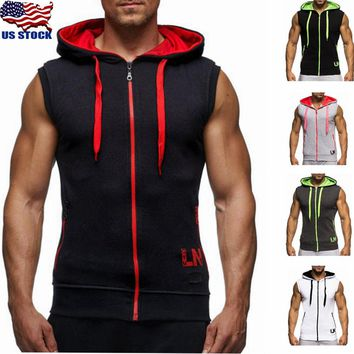 Mens Vest Tank Top Zipper Hoodie Hooded Sweatshirt Camo Sleeveless Muscle Gym US