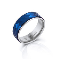 Chicago Blues - FINAL SALE Multi faceted blue IP and silver stainless steel men's ring