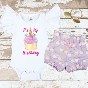 Cupcake Unicorn Purple Rainbow Bloomer Outfit