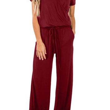 Burgundy Short Sleeve Casual Lunch Date Jumpsuit