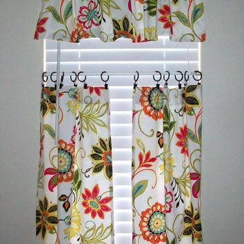 cafe curtain Tiers 2 panels/ Valance sold seperately / Avery Garden / Kitchen/ Bath/ Laundry/ Bedroom/ Sunroom